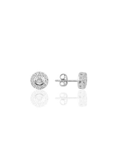 Söğütlü Silver Gümüş Pırlanta Modeli Küpe Gümüş